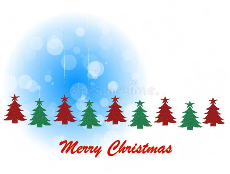 Tema do Natal com pinhos de suspensão ilustração do vetor