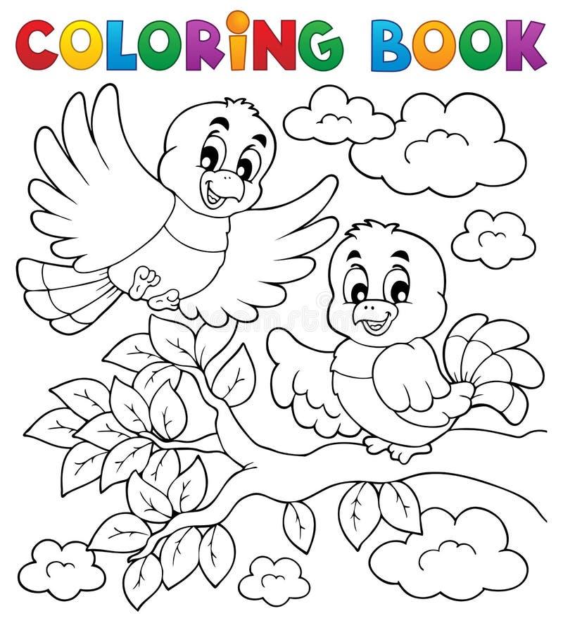 Tema do pássaro do livro para colorir ilustração royalty free