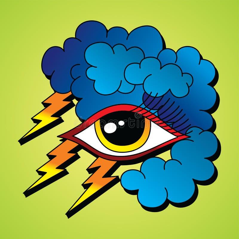 Tema do símbolo do olho do relâmpago do parafuso ilustração do vetor