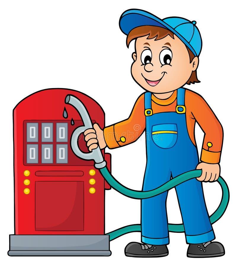 Tema 1 do trabalhador do posto de gasolina ilustração do vetor