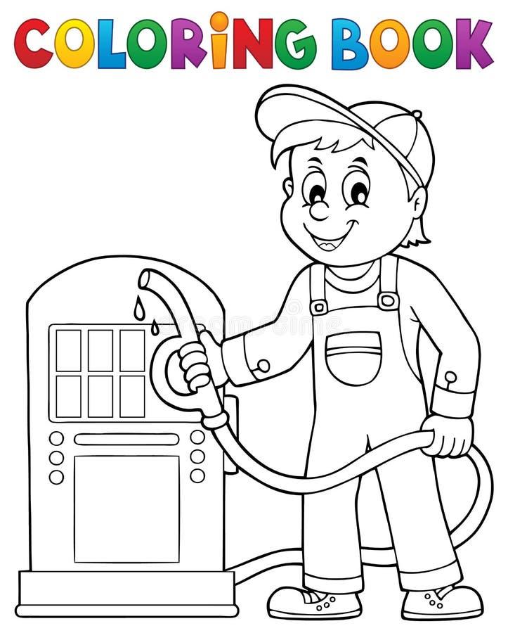 Tema 1 do trabalhador do posto de gasolina do livro para colorir ilustração do vetor