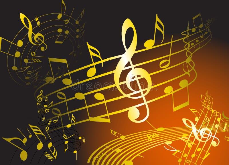 Tema dorato di musica illustrazione di stock