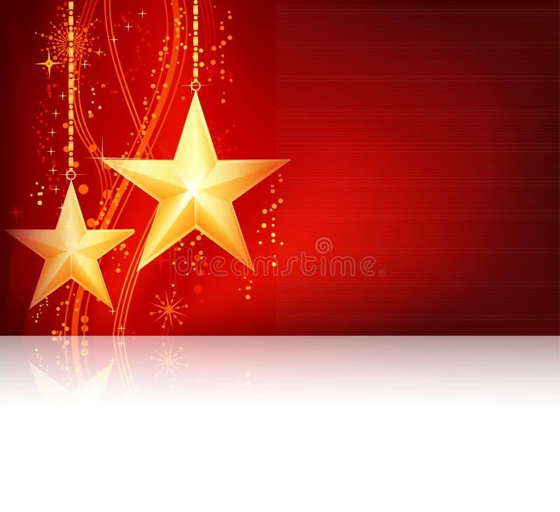 Tema dorato rosso di natale illustrazione di stock