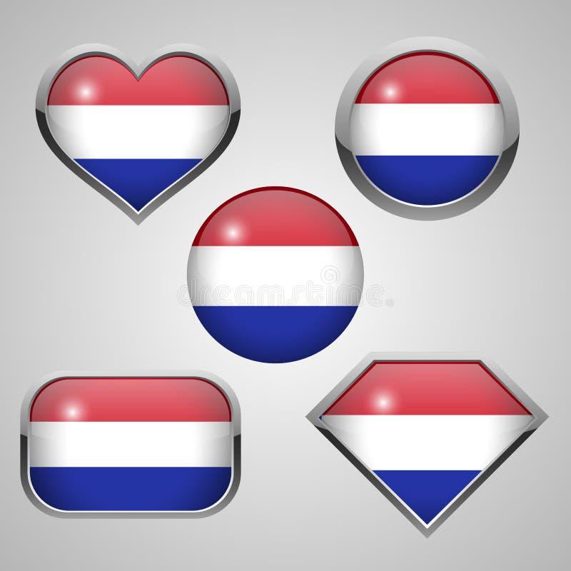 Tema dos ícones da bandeira de Netherland ilustração royalty free