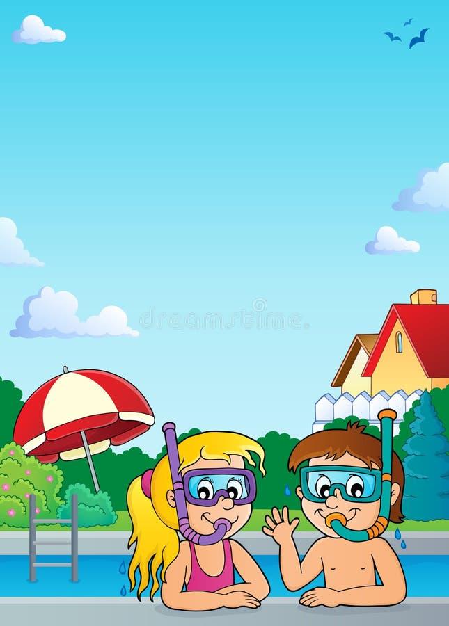 Tema 2 dos mergulhadores do tubo de respiração das crianças ilustração royalty free