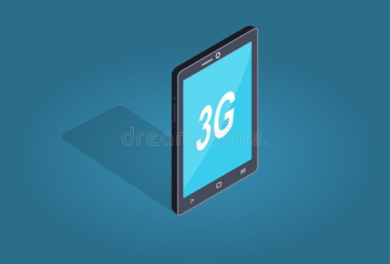 Tema esperto do plano e da sombra da conexão do telefone 3G ilustração do vetor