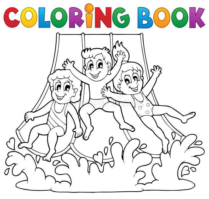 Tema 1 för aquapark för färgläggningbok royaltyfri illustrationer