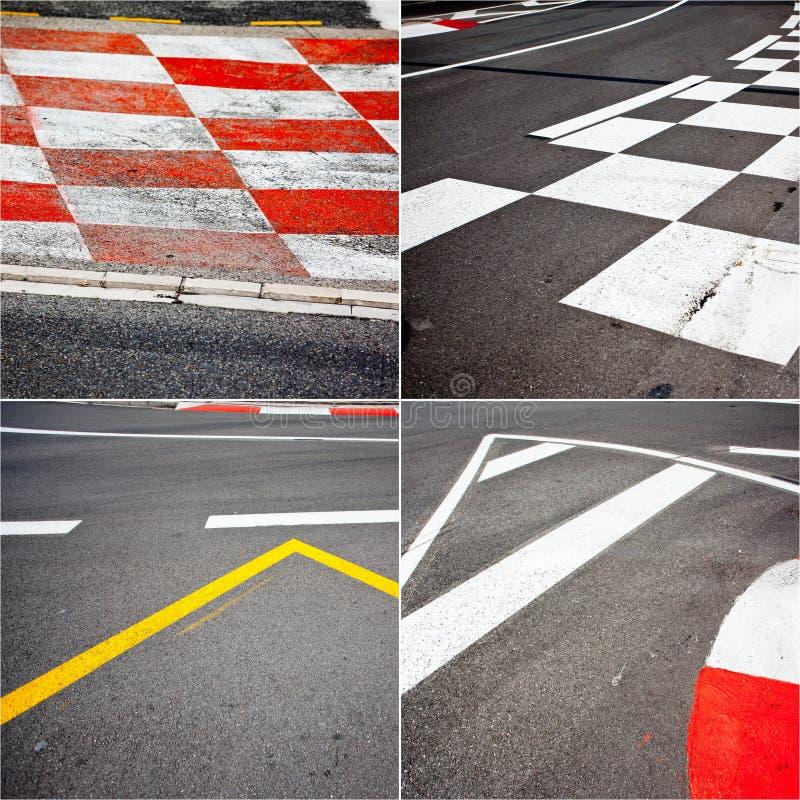 Tema för asfalt för billopp arkivbild