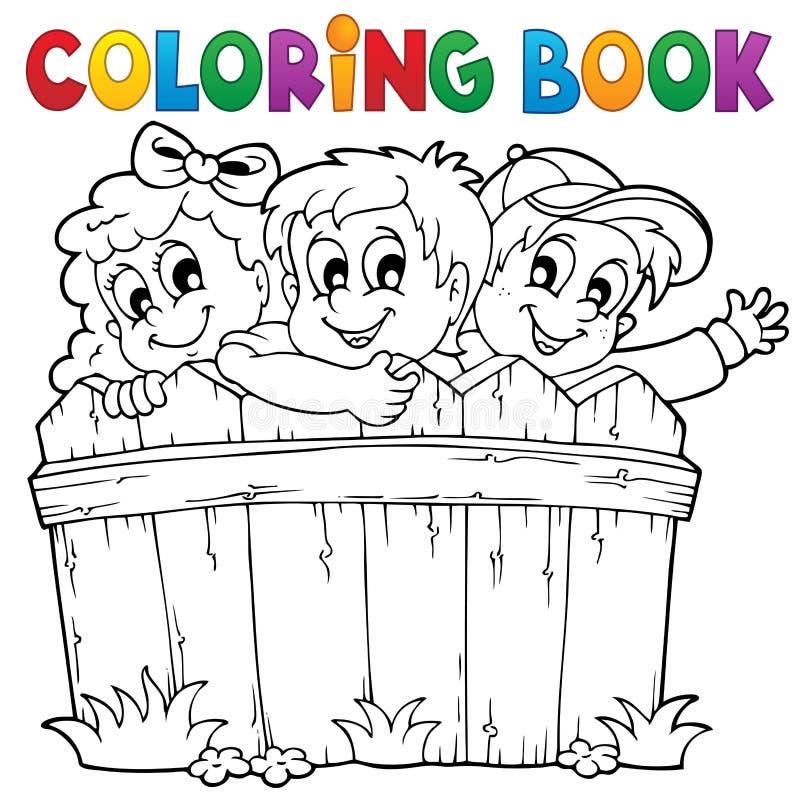 Tema 1 för barn för färgläggningbok royaltyfri illustrationer
