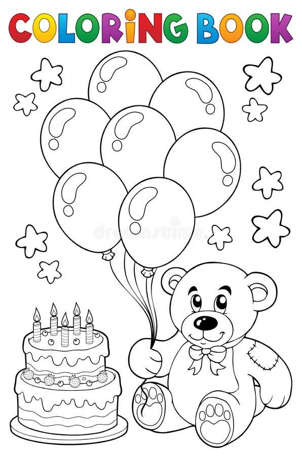 Tema 4 för björn för nalle för färgläggningbok royaltyfri illustrationer