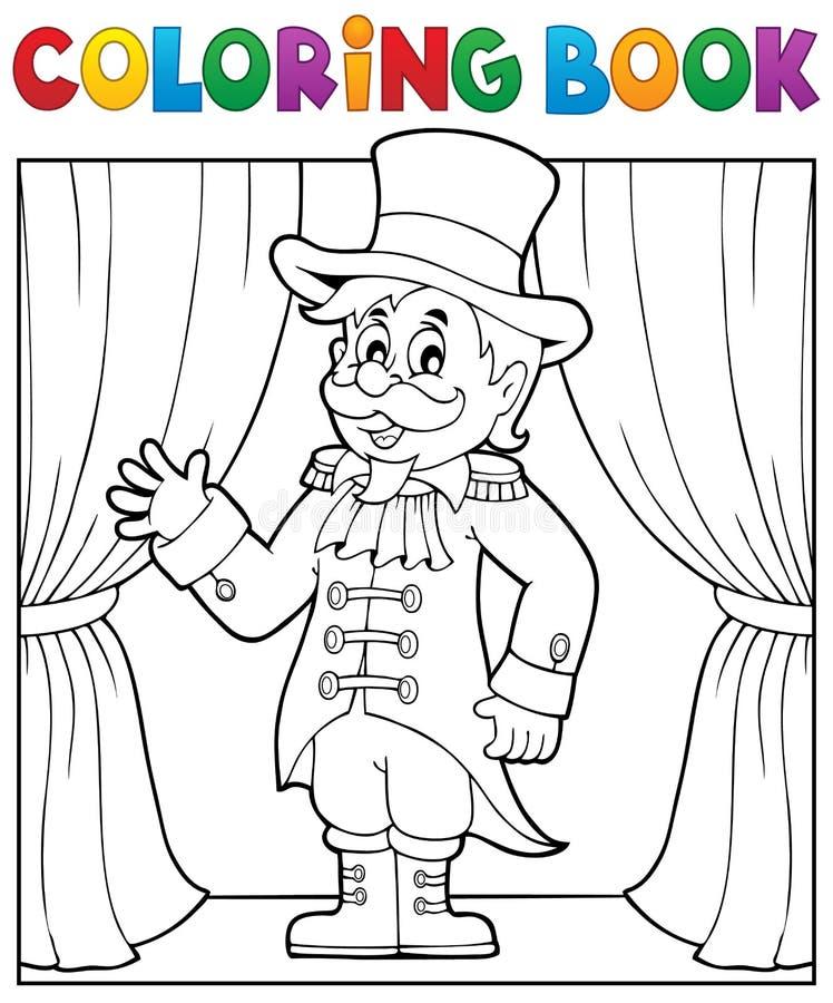 Tema 1 för cirkusdirektör för cirkus för färgläggningbok stock illustrationer