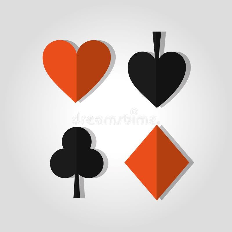 Tema för dobbleri för kasino för spade och för diamant för klubba för hjärta för pokerkortdräkter stock illustrationer