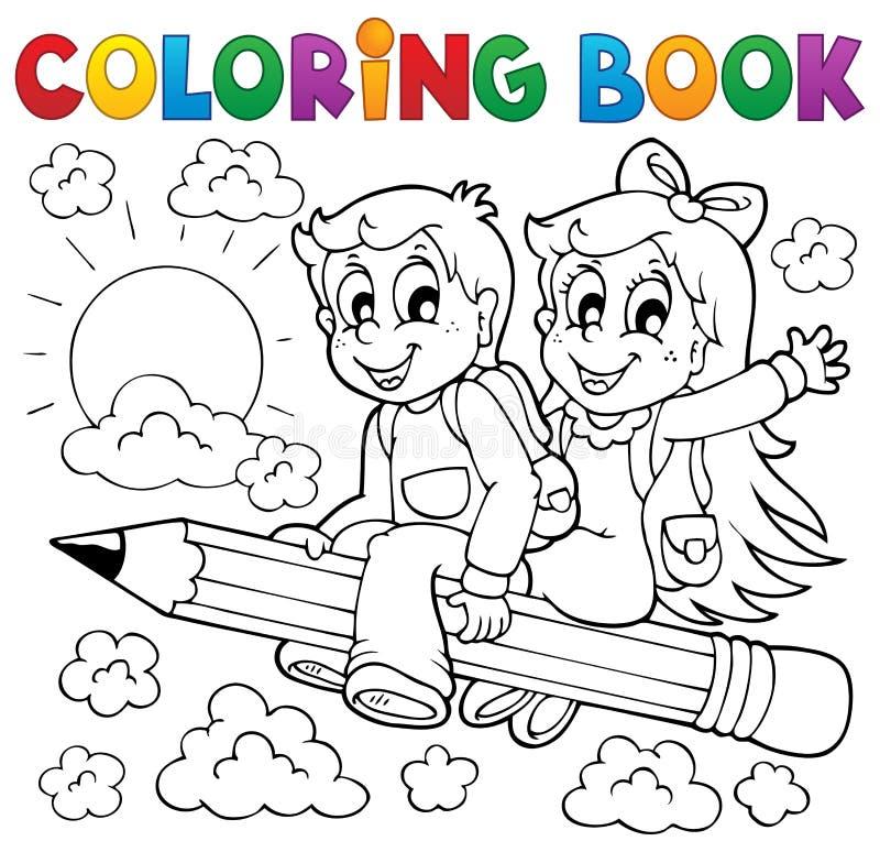 Tema 3 för elev för färgläggningbok stock illustrationer