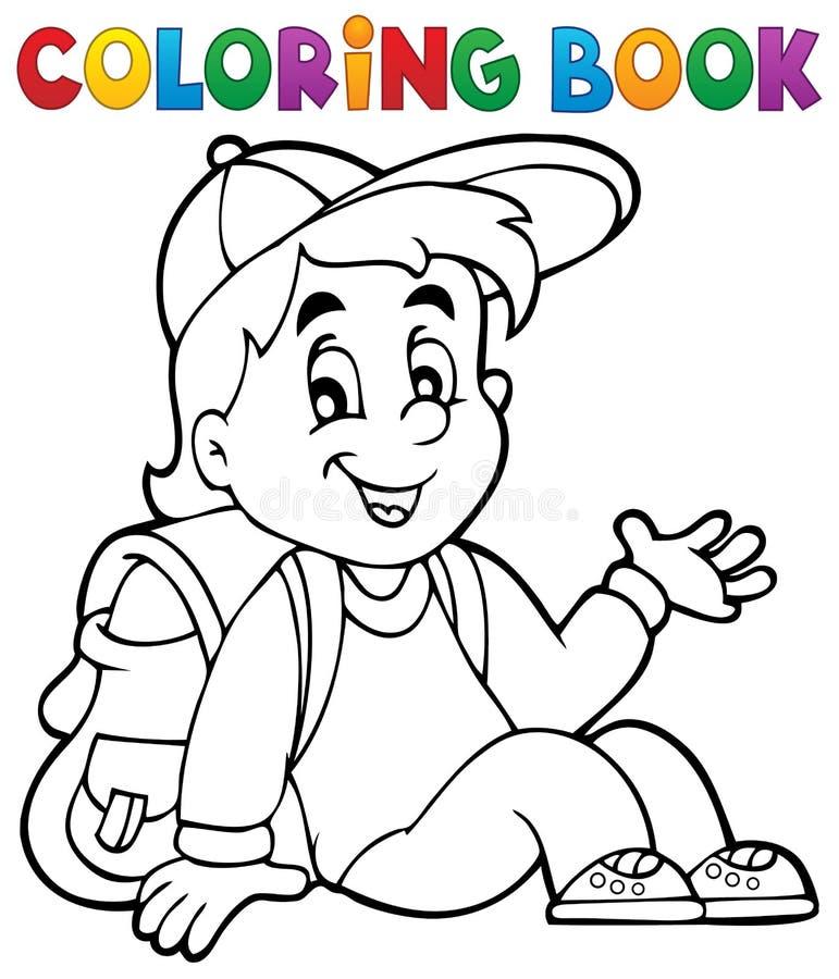 Tema 4 för elev för färgläggningbok stock illustrationer