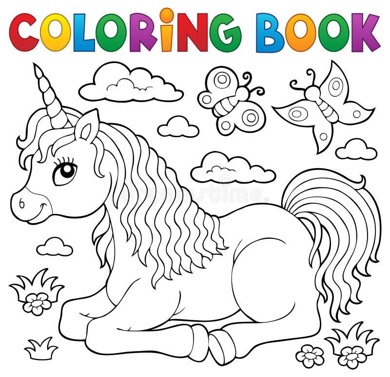 Tema 1 för enhörning för färgläggningbok liggande royaltyfri illustrationer