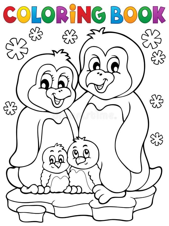 Tema 1 för familj för pingvin för färgläggningbok stock illustrationer