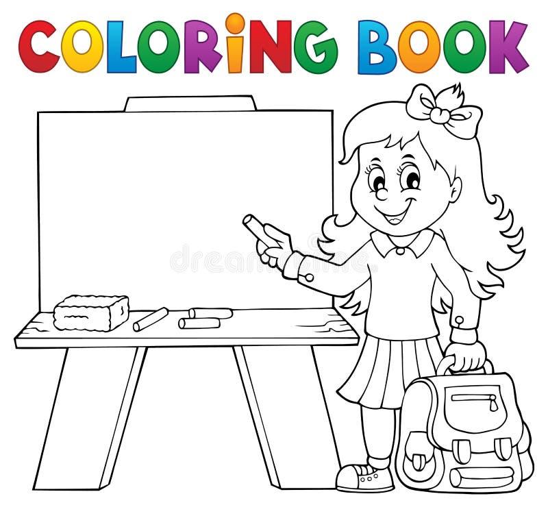 Tema 4 för flicka för elev för färgläggningbok lyckligt royaltyfri illustrationer