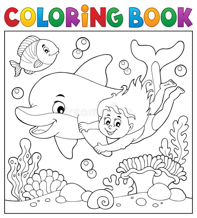 Tema 2 för flicka och för delfin för färgläggningbok royaltyfri illustrationer