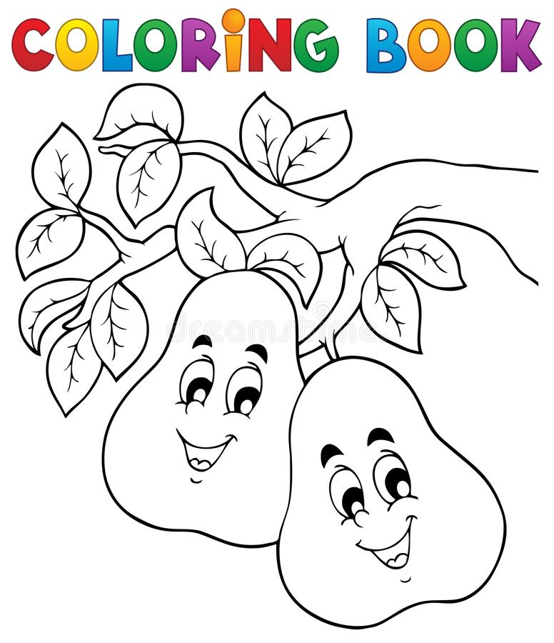 Tema 2 för frukt för färgläggningbok vektor illustrationer