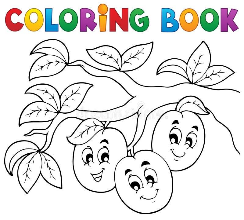 Tema 3 för frukt för färgläggningbok royaltyfri illustrationer