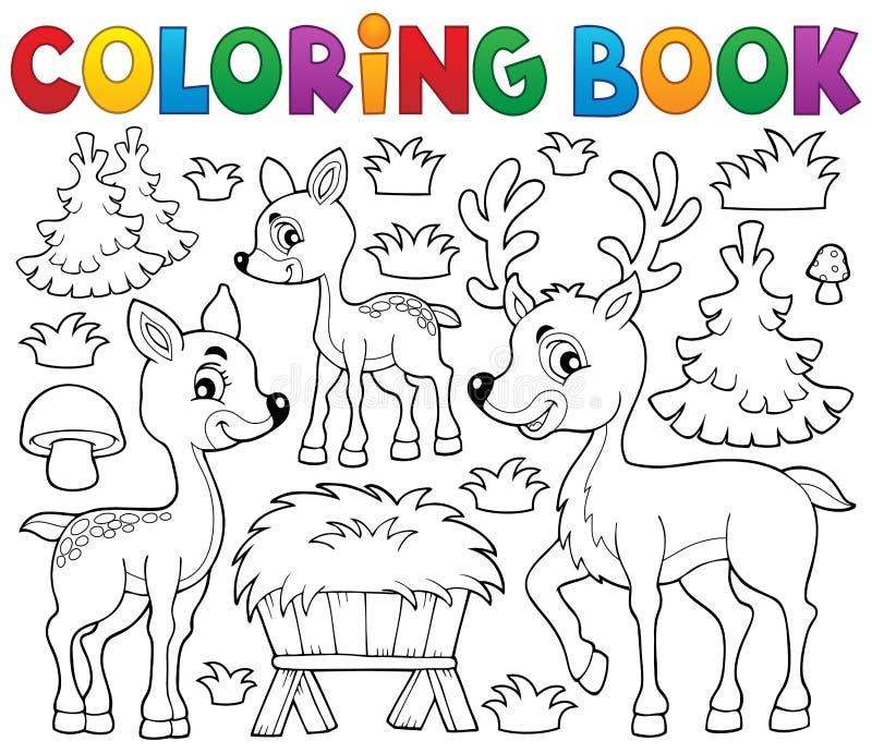 Tema 1 för hjortar för färgläggningbok royaltyfri illustrationer