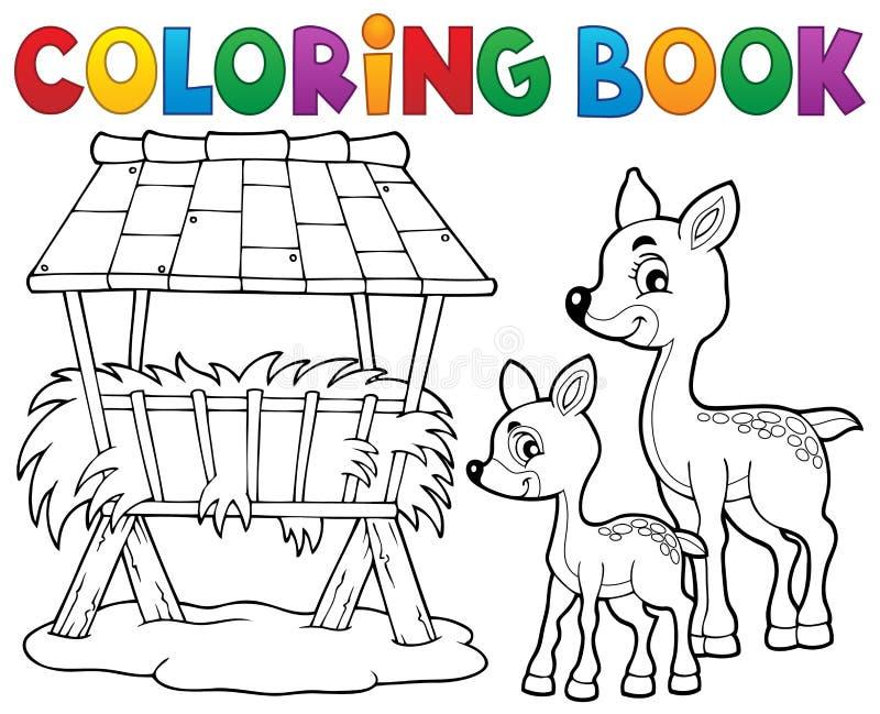 Tema 3 för hjortar för färgläggningbok stock illustrationer