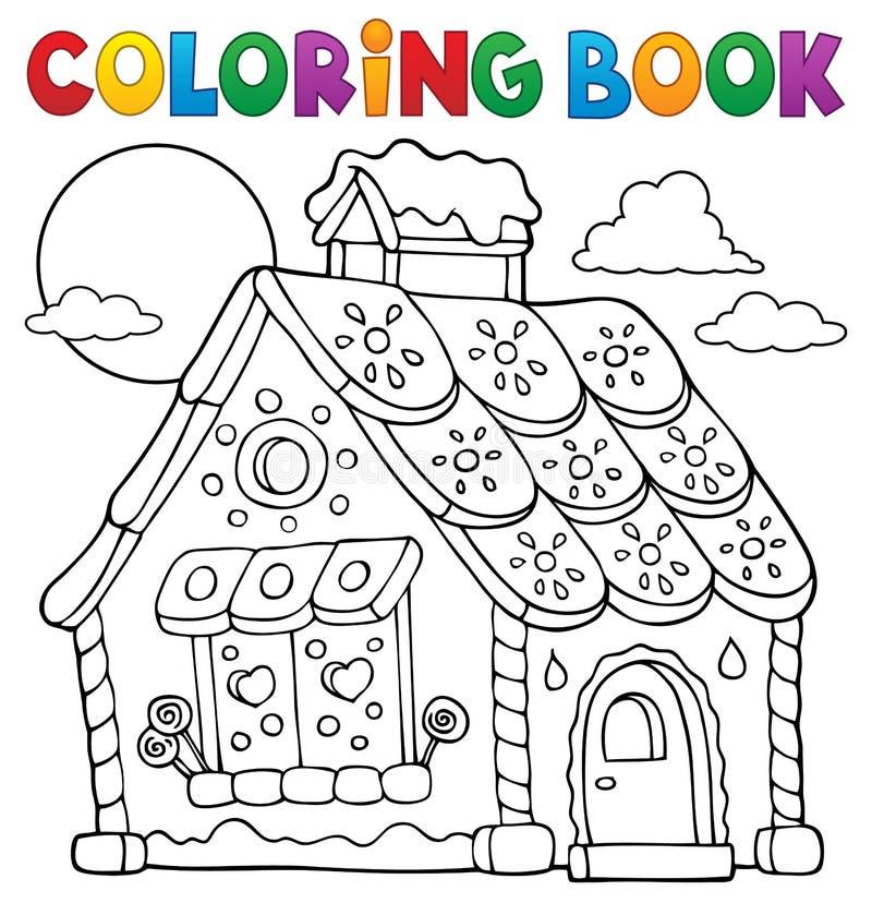 Tema 1 för hus för pepparkaka för färgläggningbok stock illustrationer
