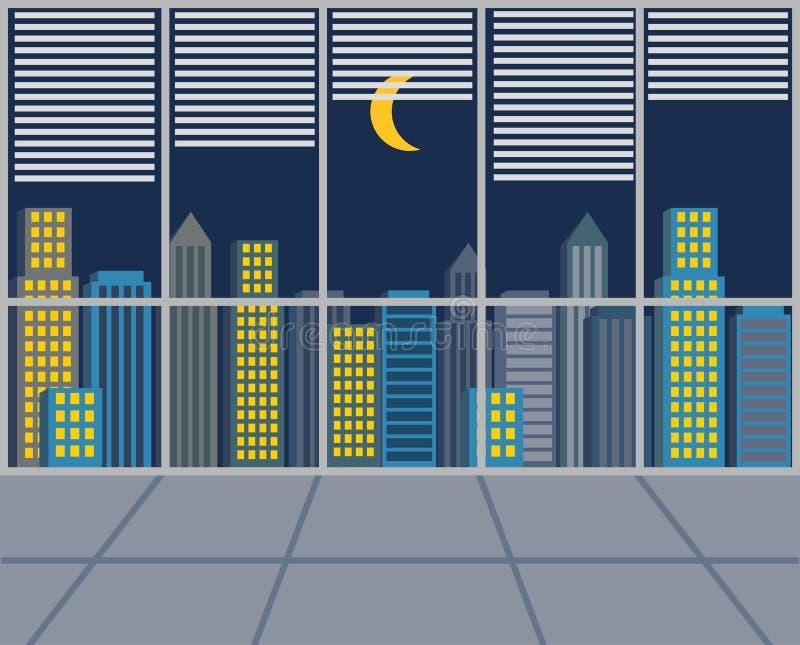 tema för illustration för arkitekturaffärsmitt också vektor för coreldrawillustration skyskrapor Sikt från fönstret på natten vektor illustrationer