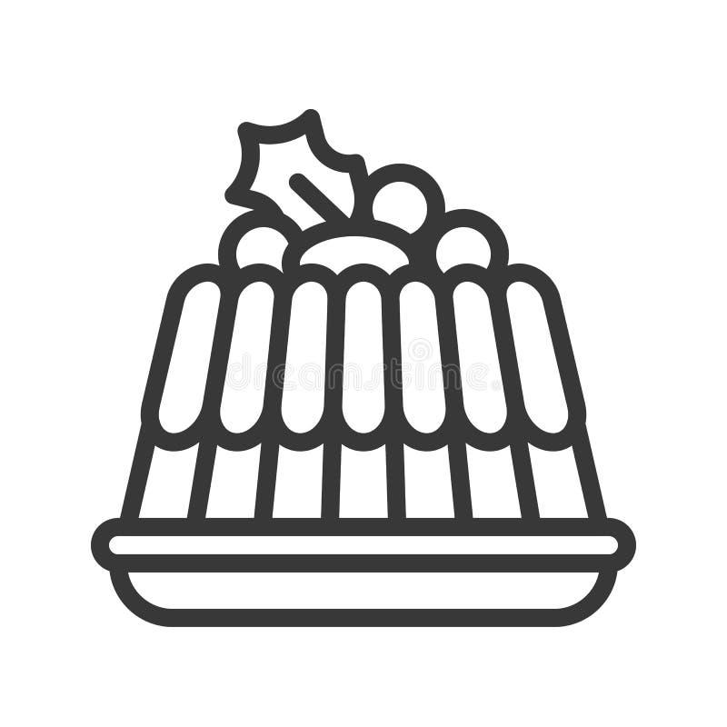 Tema för jul för översikt för puddingsymbol redigerbart stock illustrationer