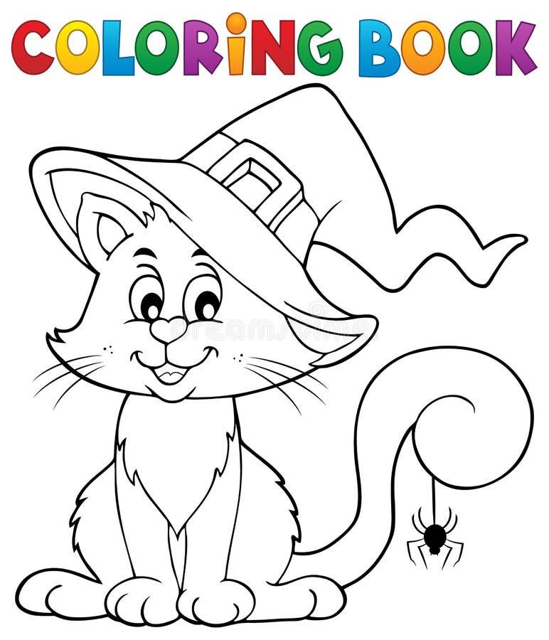Tema 2 för katt för allhelgonaafton för färgläggningbok vektor illustrationer