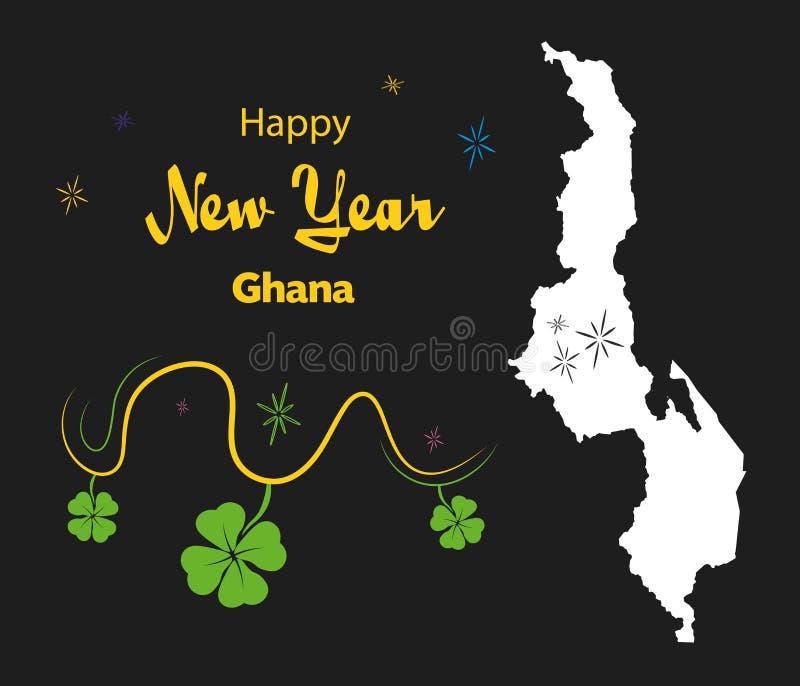 Tema för lyckligt nytt år med översikten av Malawi royaltyfri illustrationer