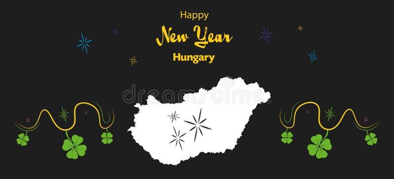 Tema för lyckligt nytt år med översikten av Ungern royaltyfri illustrationer