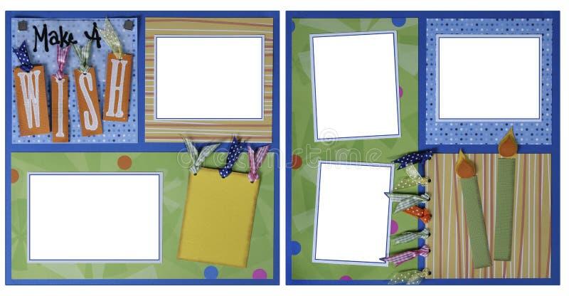 tema för mall för födelsedagramscrapbook vektor illustrationer