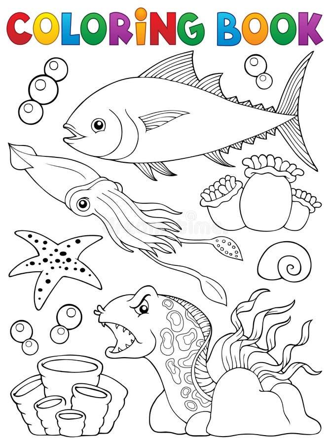 Tema 1 för marin- liv för färgläggningbok royaltyfri illustrationer