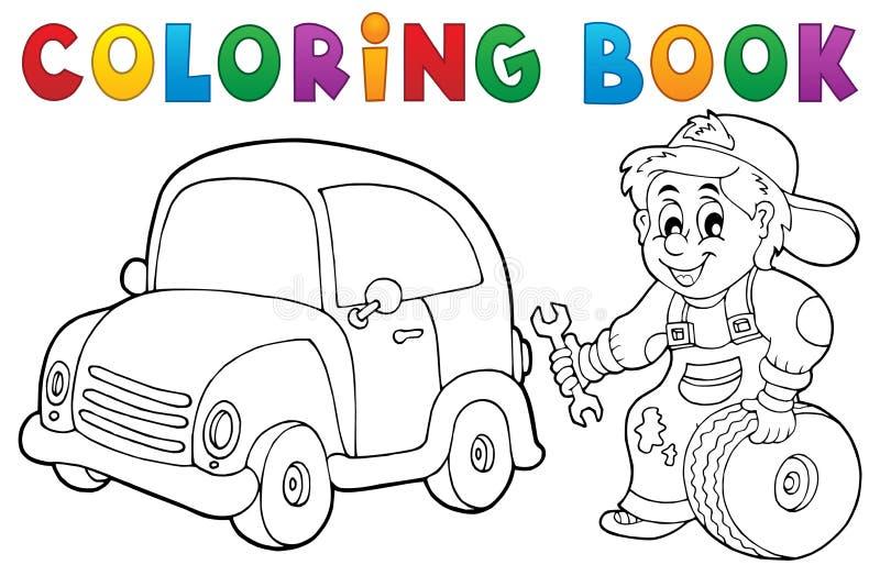 Tema 1 för mekaniker för färgläggningbokbil stock illustrationer