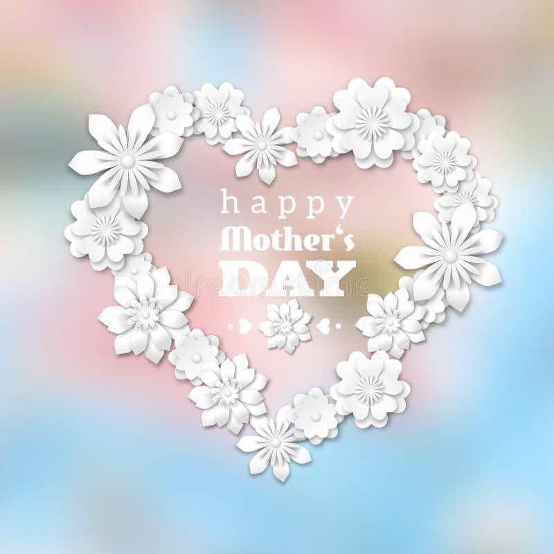 Tema för moderdag med hjärta och vita blommor stock illustrationer