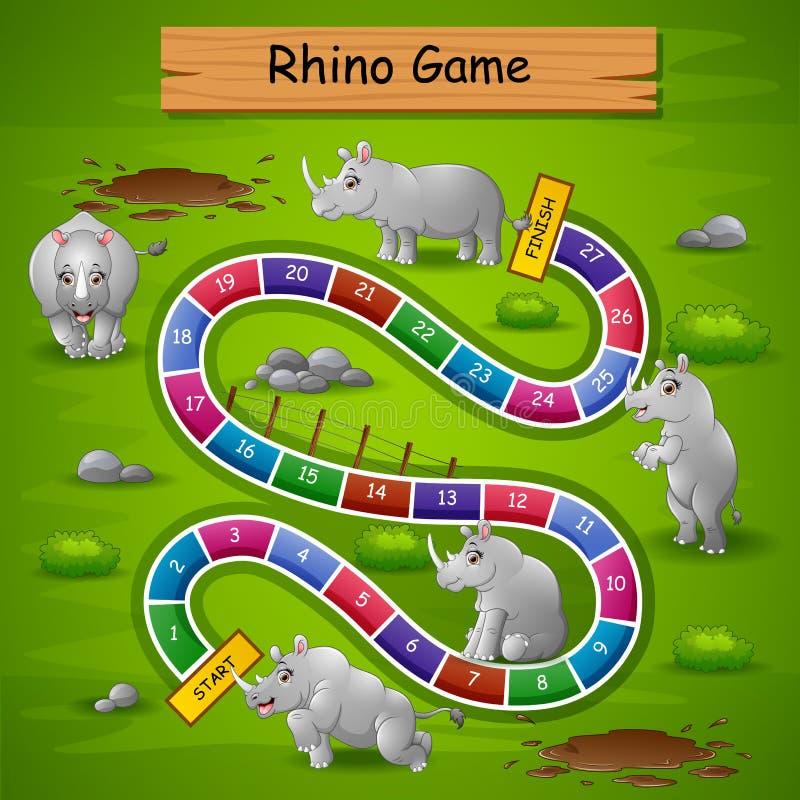 Tema för noshörningar för ormstegar modigt stock illustrationer