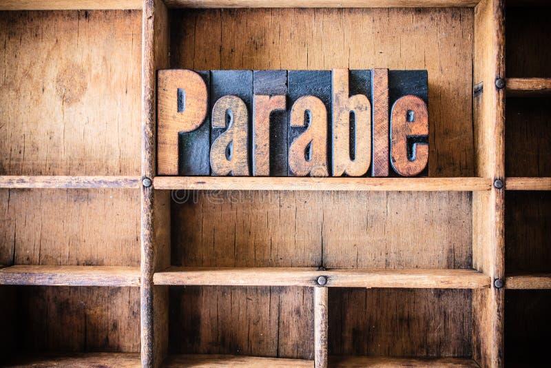 Tema för parabelbegreppsträboktryck arkivbilder