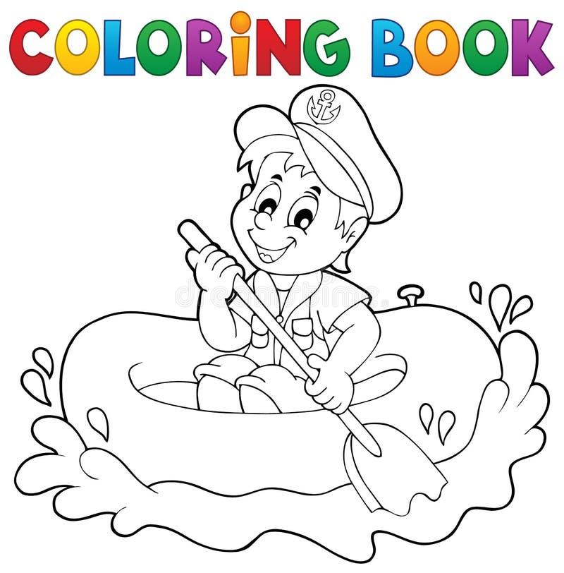 Tema 1 för sjöman för färgläggningbok litet stock illustrationer