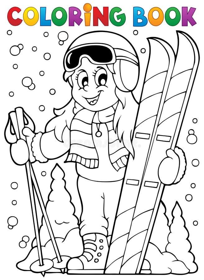 Tema 1 för skidåkning för färgläggningbok royaltyfri illustrationer