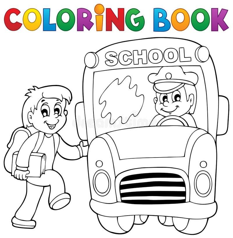 Tema 2 för skolbuss för färgläggningbok royaltyfri illustrationer