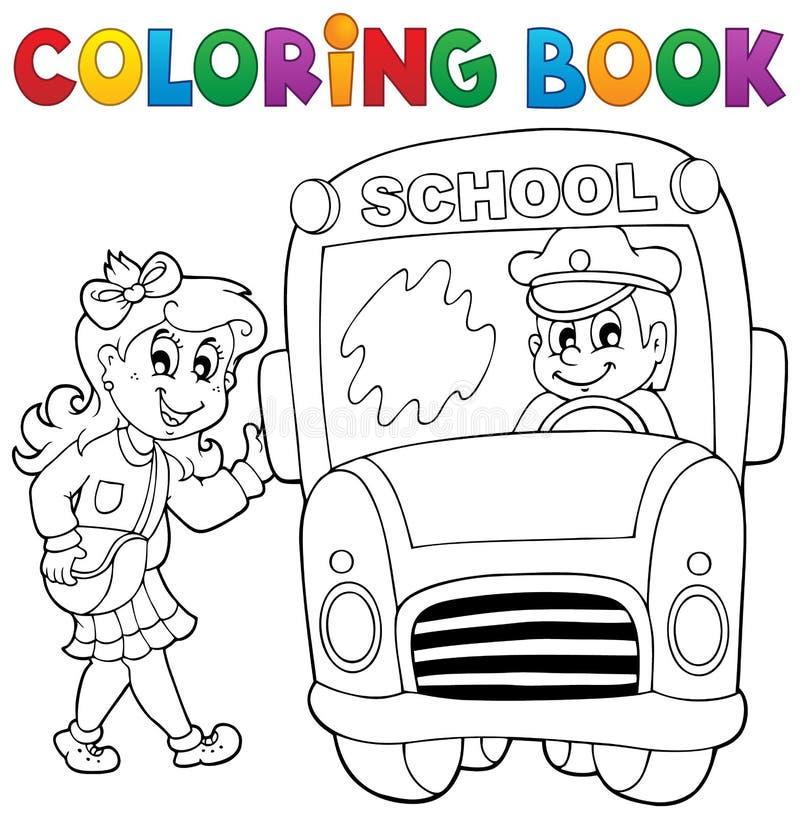 Tema 3 för skolbuss för färgläggningbok stock illustrationer