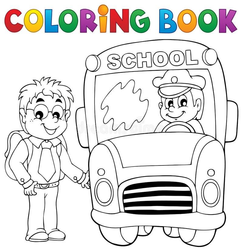 Tema 4 för skolbuss för färgläggningbok royaltyfri illustrationer