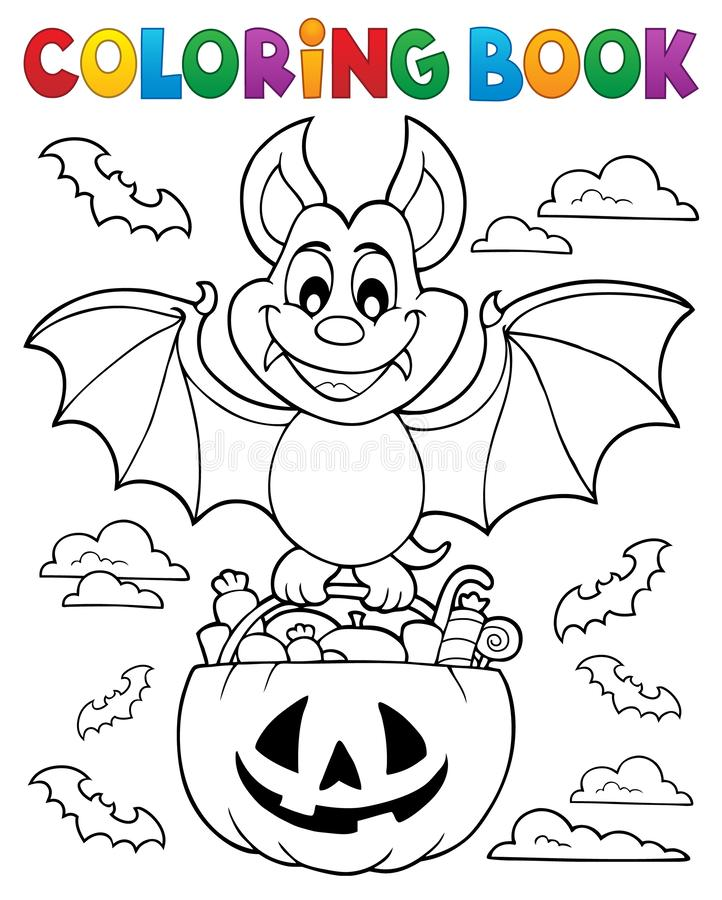 Tema 1 för slagträ för allhelgonaafton för färgläggningbok stock illustrationer