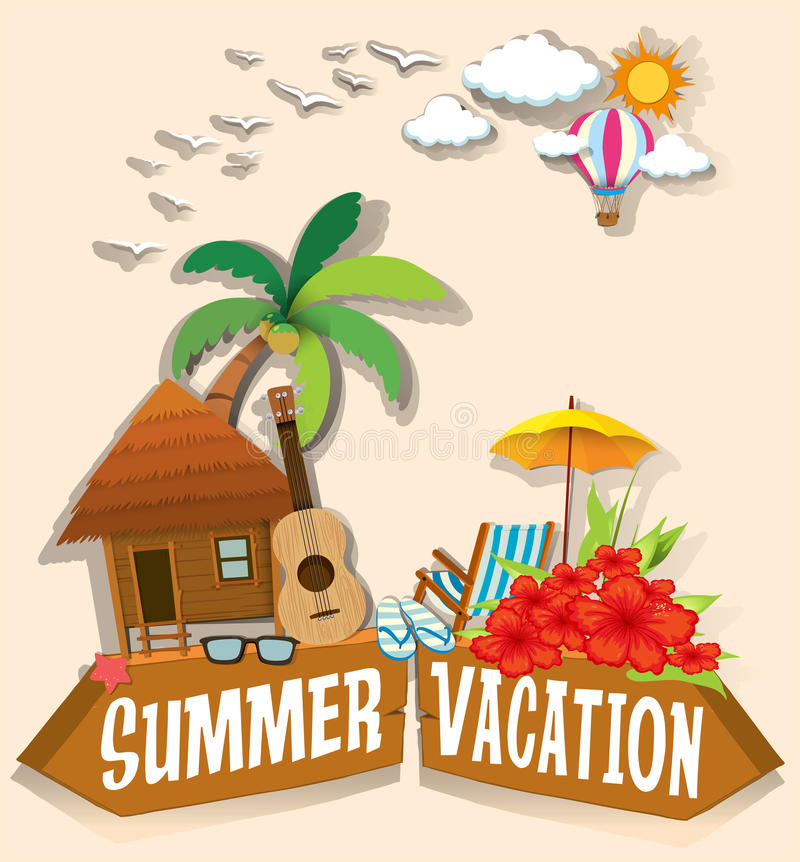 Tema för sommarsemester med bungalowen royaltyfri illustrationer