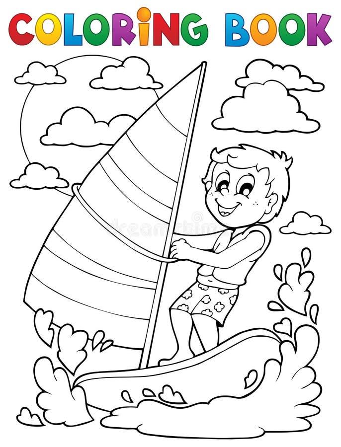 Tema 1 för sport för vatten för färgläggningbok vektor illustrationer