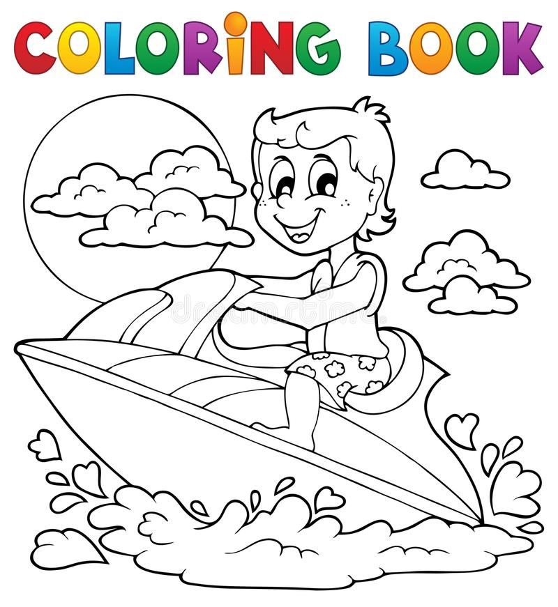 Tema 2 för sport för vatten för färgläggningbok vektor illustrationer