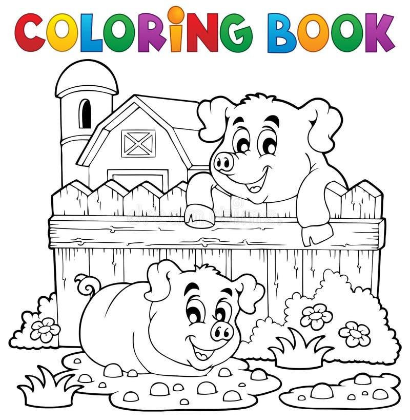 Tema 3 för svin för färgläggningbok stock illustrationer