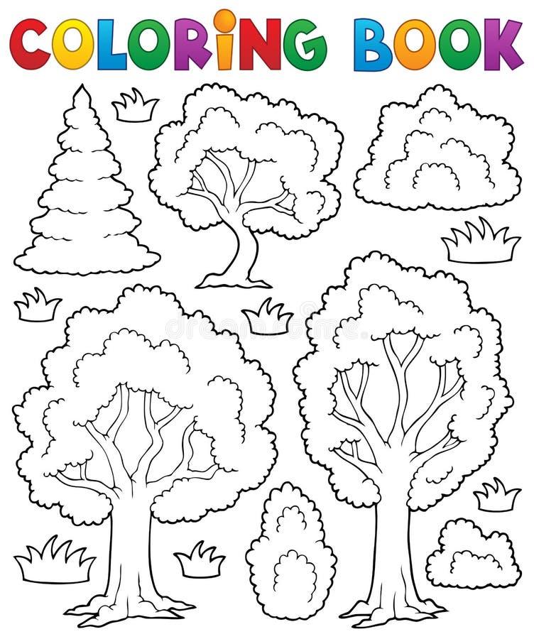 Tema 1 för träd för färgläggningbok royaltyfri illustrationer