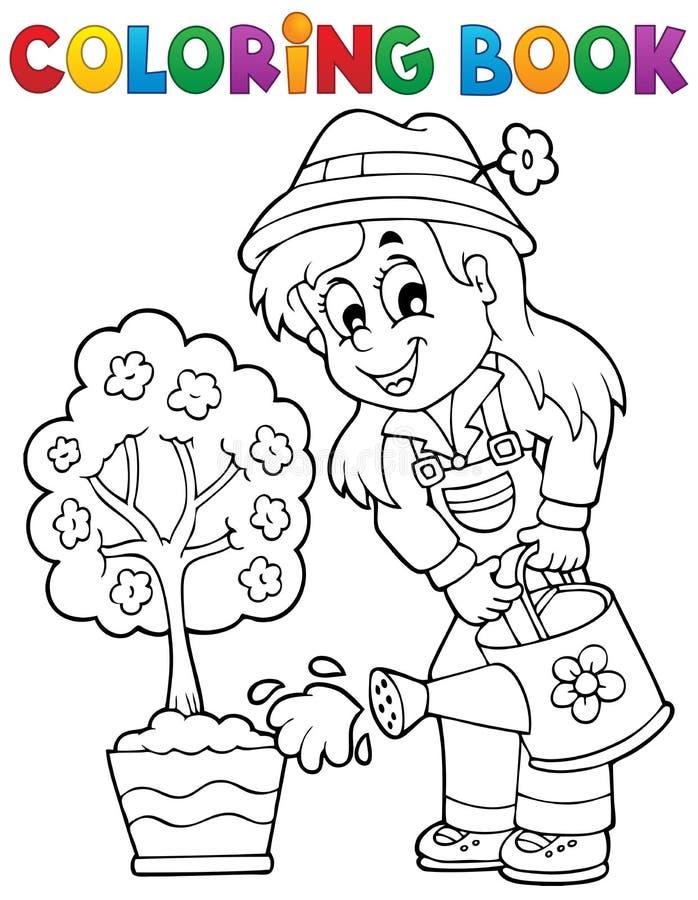 Tema 1 för trädgårdsmästare för färgläggningbok vektor illustrationer
